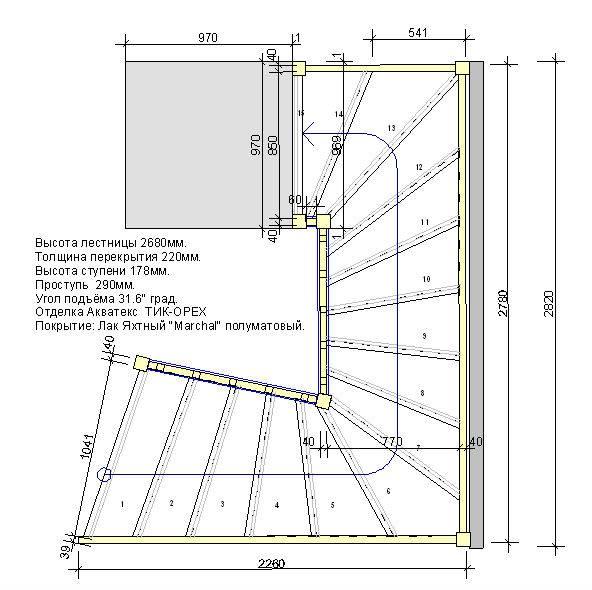 Лестница поворотная на второй этаж: разновидности конструкций, самостоятельное изготовление