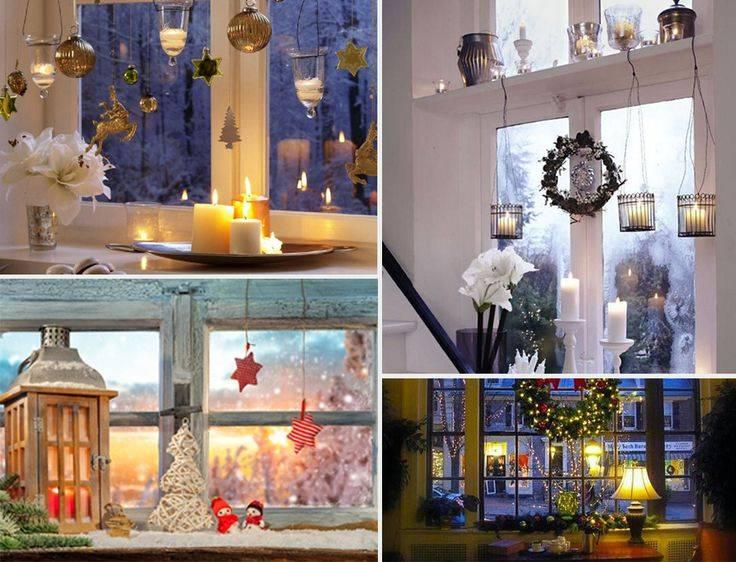 Новогоднее окно – 50 вариантов украшения, фото, мастер классы - каталог статей на сайте