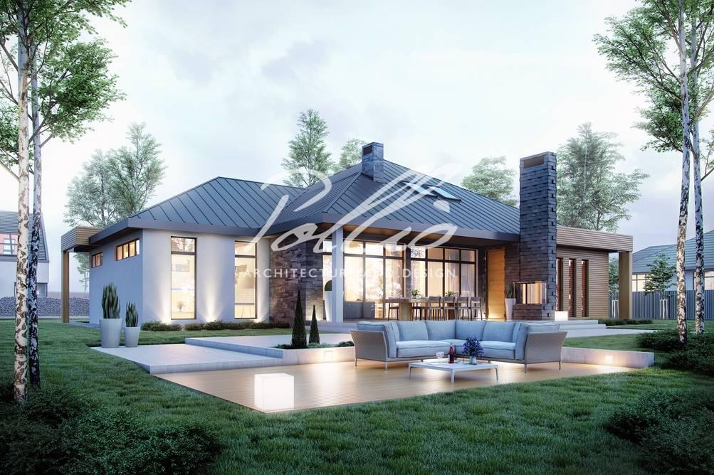 Проект одноэтажного дома с террасой — современные идеи