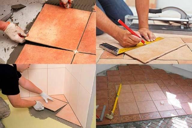 Укладка плитки по диагонали на пол: особенности монтажа + пошаговая инструкция
