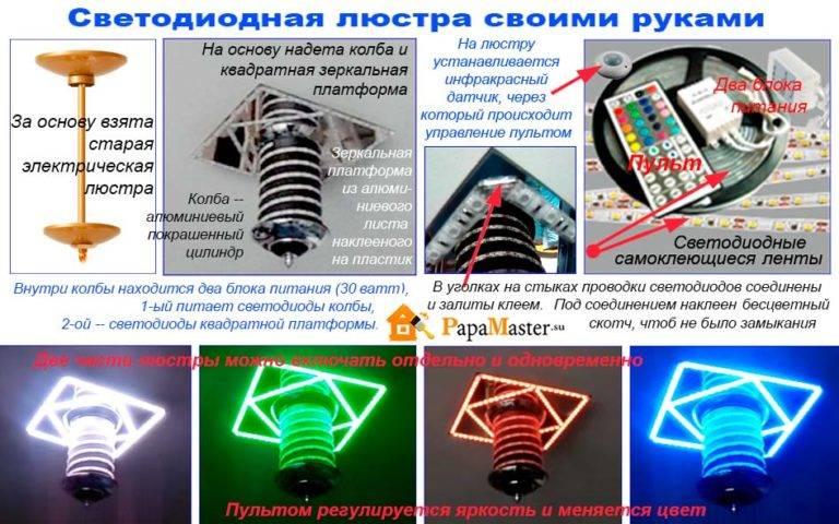 Светодиодный светильник своими руками: схемы простейших регулируемых и универсальных led светильников (100 фото)