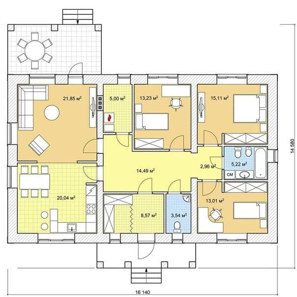 Топ 2019 – проекты одноэтажных домов с планировкой: 73 фото + размеры