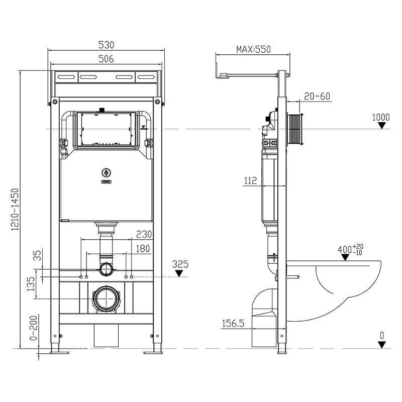 Выбор размеров подвесного и напольного унитаза с инсталляцией: устройство