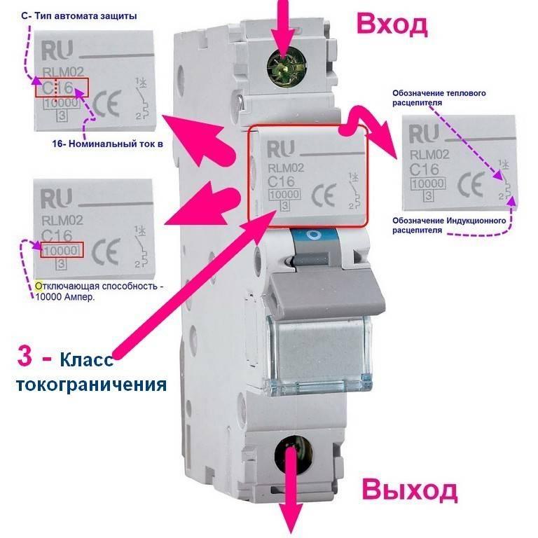 Маркировка автоматических выключателей