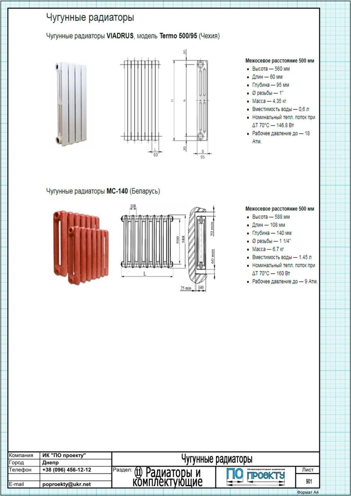 Радиаторы отопления чугунные технические характеристики и описание