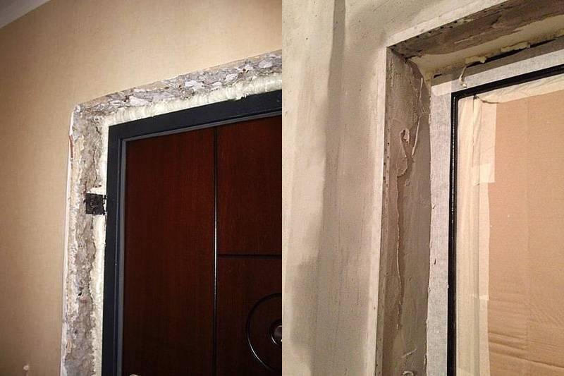 Как заделать входную дверь после установки: как убрать дырки, щели, чем обшить косяки, дверной проем,  как прикрепить мдф или другой материал на откосы?