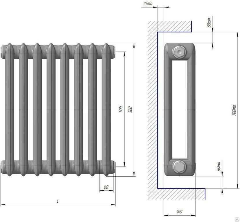 Снип расчет количества секций радиаторов отопления по объему помещения. расчет количества секций батареи   дачная жизнь