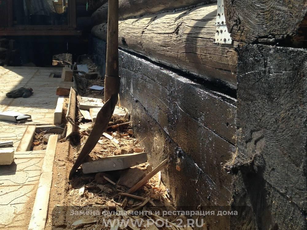 Как поднять деревянный дом и залить фундамент