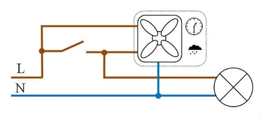 Электросхема и этапы подключения вытяжного вентилятора (с таймером и без) в ванной и туалете к выключателю