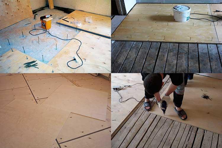 Процесс укладки фанеры под линолеум на деревянный пол