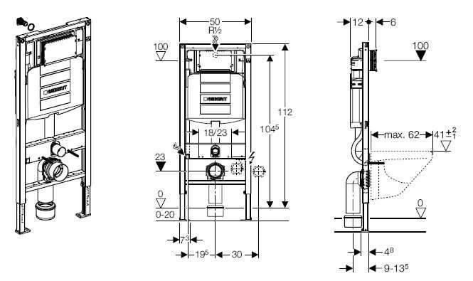 Подвесной унитаз: размеры с инсталляцией, как установить своими руками - видео-инструкция, фото