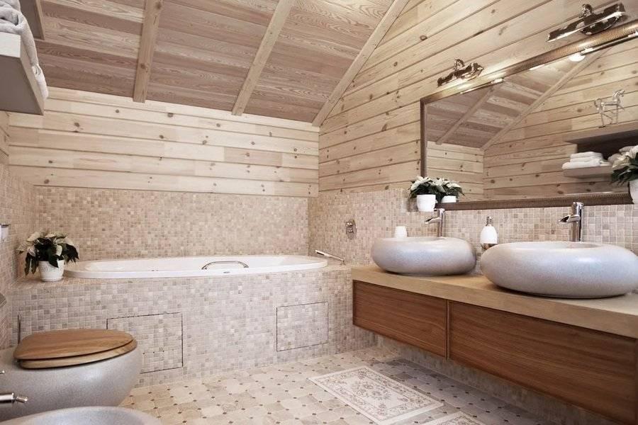 Ванная в деревянном доме: рекомендации для планировки и фото интерьеров
