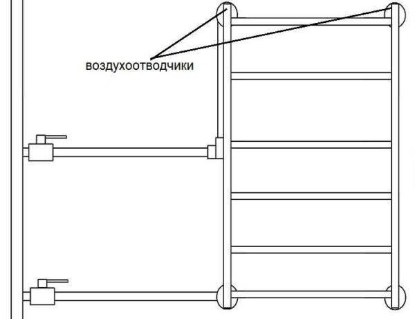 Подключение полотенцесушителя к стояку горячей воды: схема