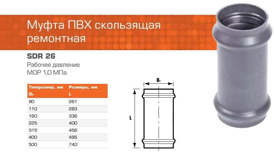 Муфта канализационная на 110 мм: ремонтная деталь для канализации размером 50 мм, соединительное и компенсирующее резиновое изделие