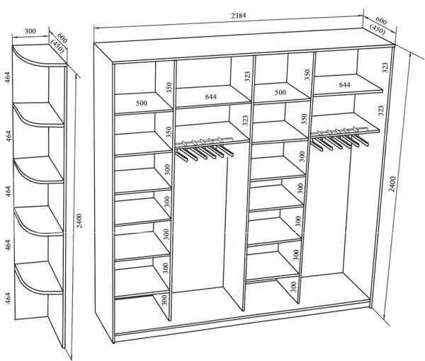 Наполнение шкафа купе (90 фото): дизайн внутри, внутренние варианты планировки для 3 метров с размерами