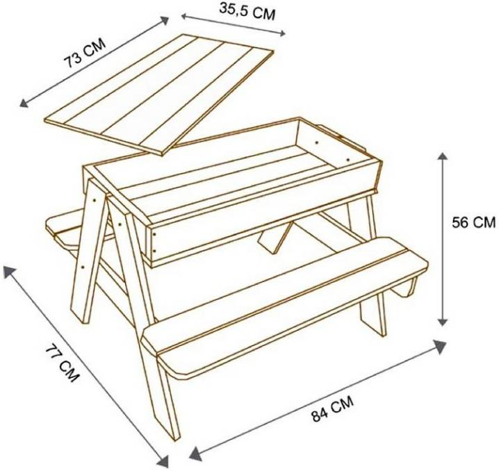Как сделать деревянную детскую песочницу с крышкой своими руками, чертежи, схемы и фото