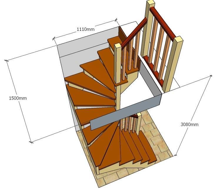 Забежные лестницы с поворотом на 90 градусов своими руками: чертежи, конструкции и пошаговая инструкция