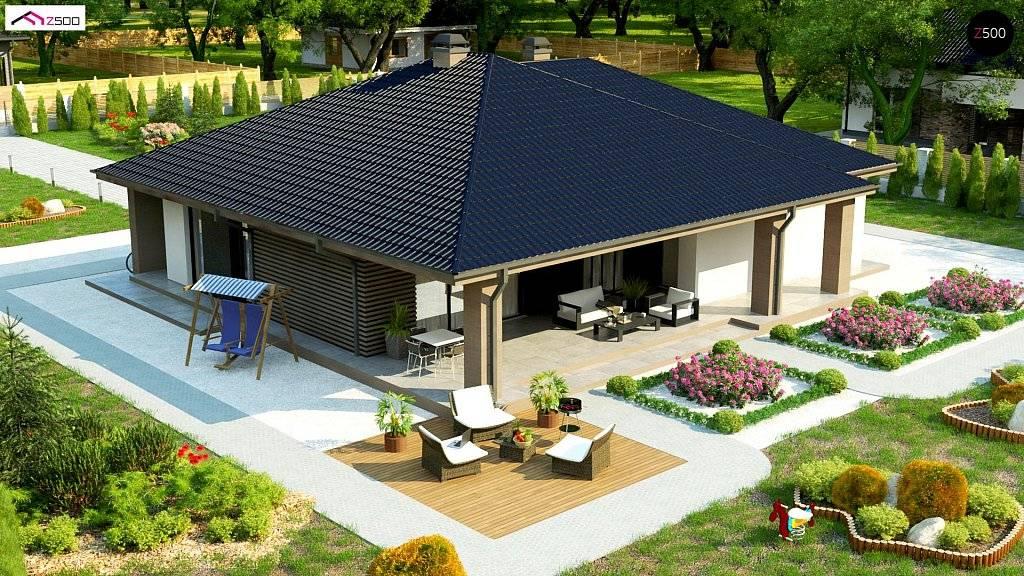 Проекты одноэтажных домов с террасой: каркасные, кирпичные, с гаражом и мансардой