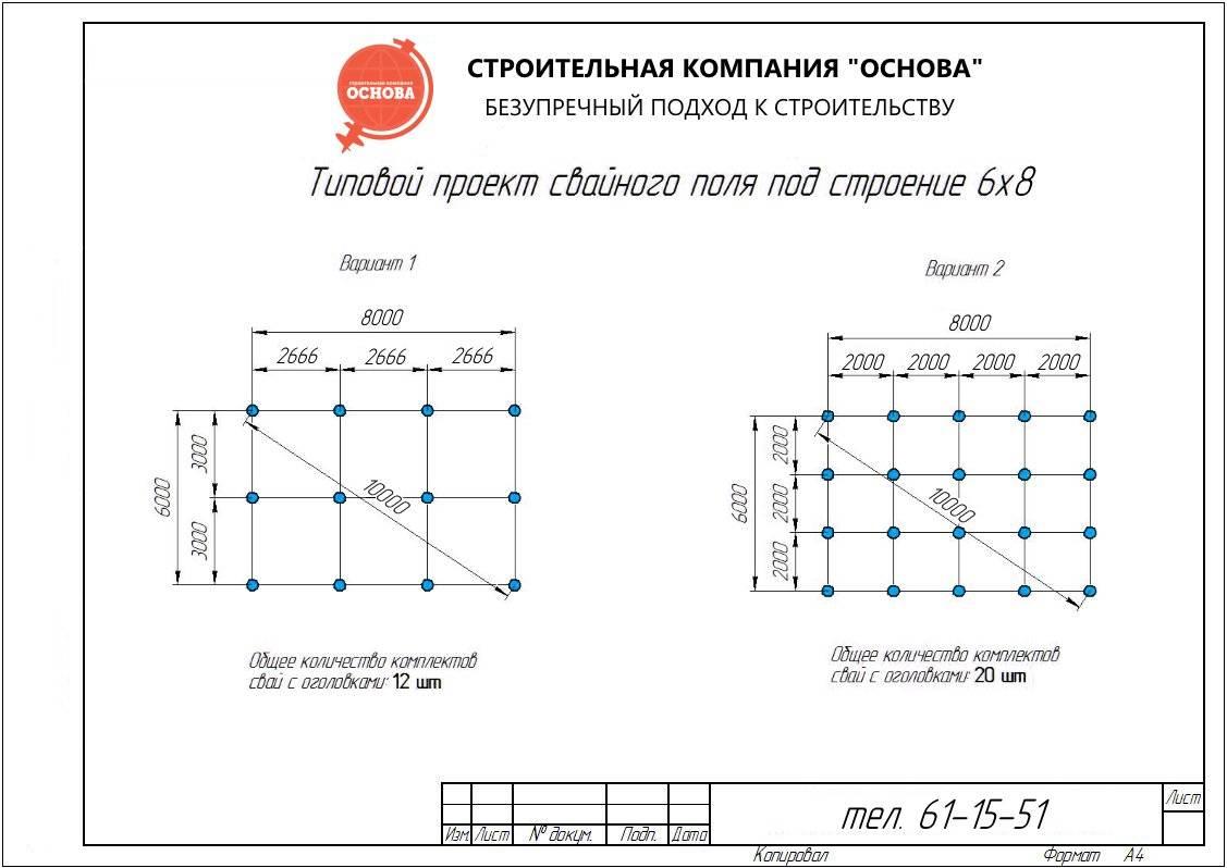 Расстояние между винтовыми сваями для каркасного дома: шаг и размеры