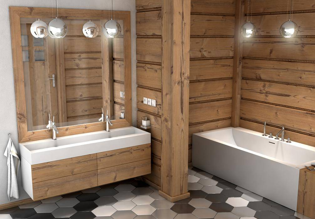 Ванная комната в деревянном доме: материалы для стен и гидроизоляция пола, советы по дизайну помещения и фото