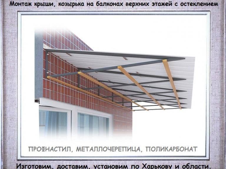 Крыша на балкон: 6 вариантов конструкций