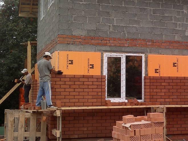 Отделка фасада дома облицовочным кирпичом