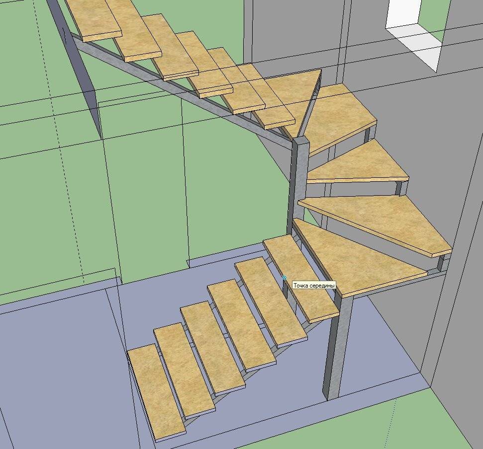 Деревянная маршевая поворотная лестница с площадкой: инструкция