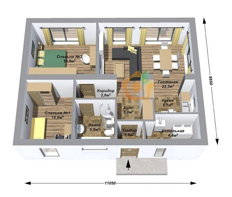 Особенности планировки одноэтажных домов с мансардой