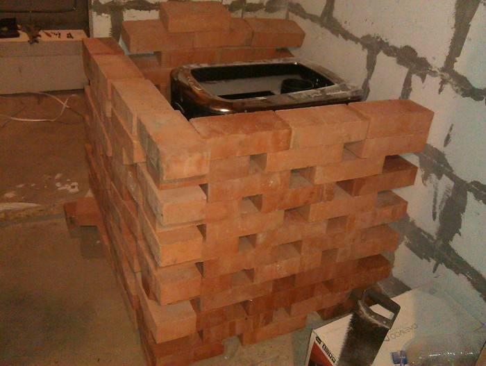 Как правильно обложить банную печку — облицовка кирпичом