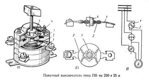 Пакетный выключатель: устройство, схема подключения