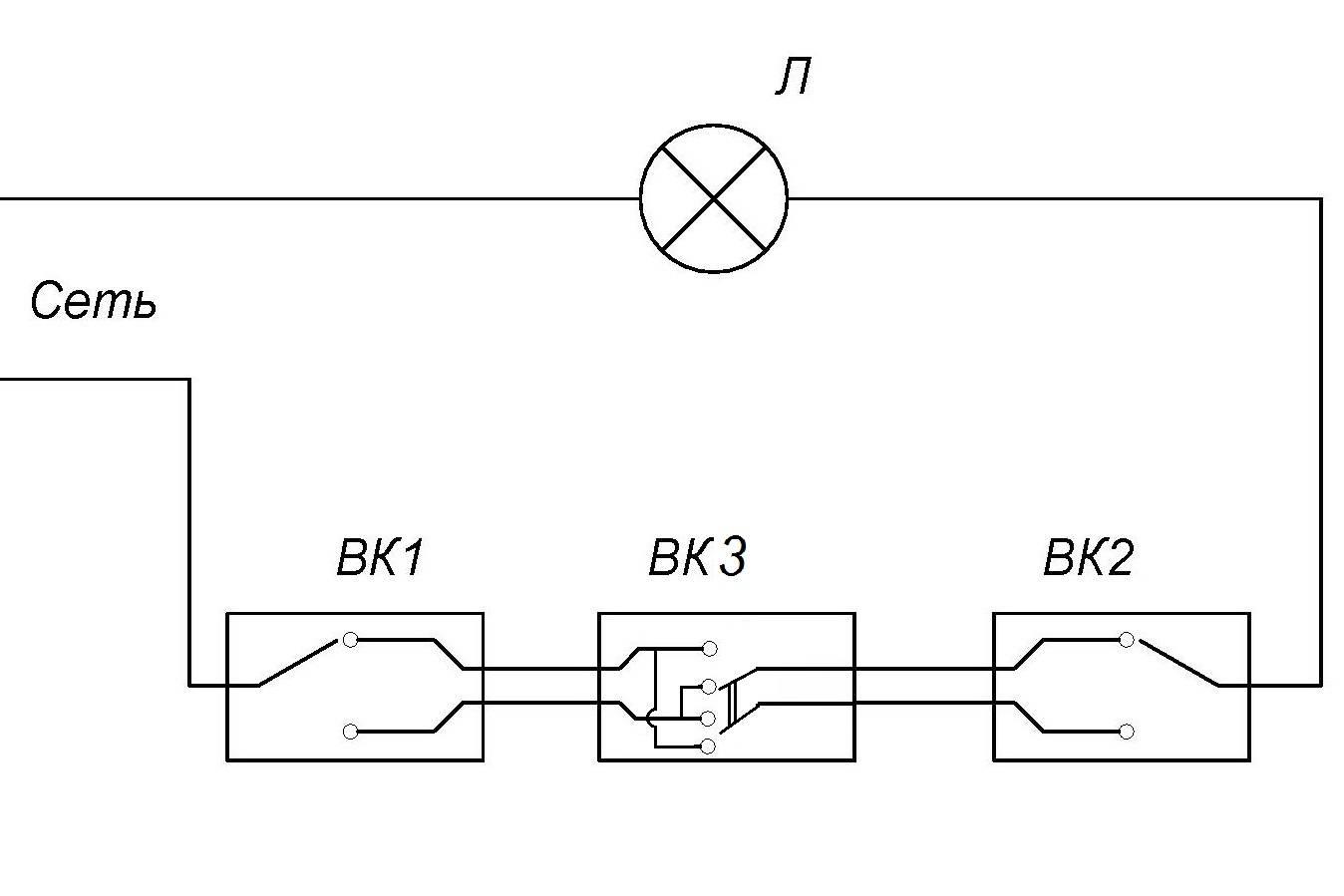 Проходной выключатель. схемы включения и монтаж