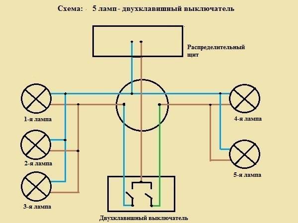 Как подключить люстру к двухклавишному выключателю — схемы и инструкция