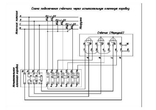 Подключение трехфазного счетчика Меркурий 230 через трансформаторы тока