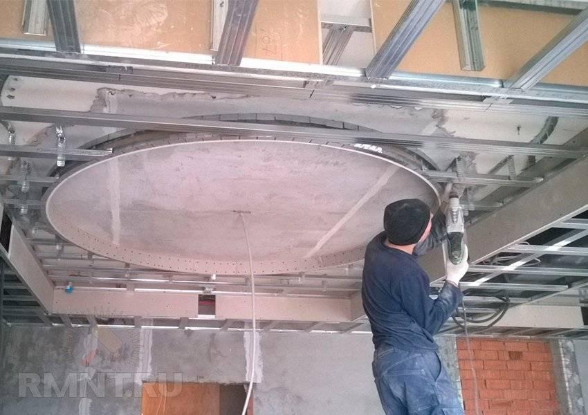 Как сделать двухуровневый потолок из гипсокартона: описание монтажа