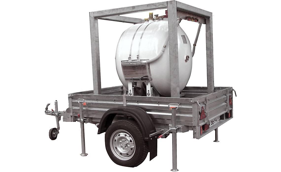 Передвижной прицеп на колесах для мобильных газгольдеров