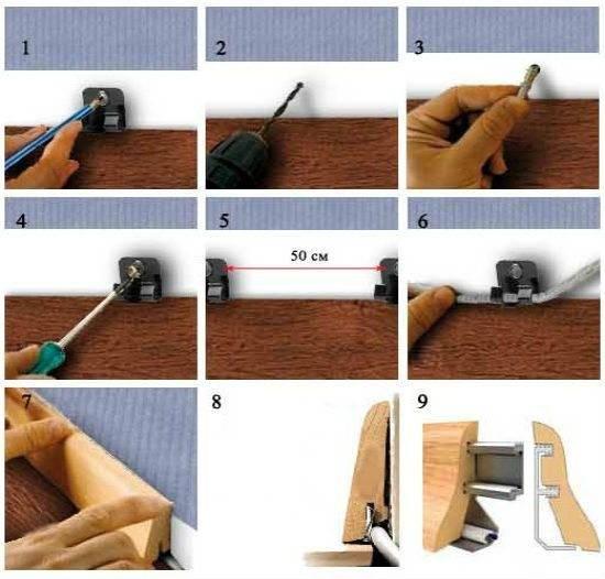 Пластиковый плинтус для пола: установка своими руками