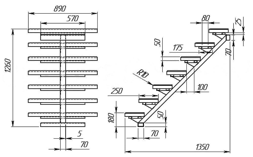 Лестница из профильной трубы своими руками – чертежи, виды конструкций, правила изготовления