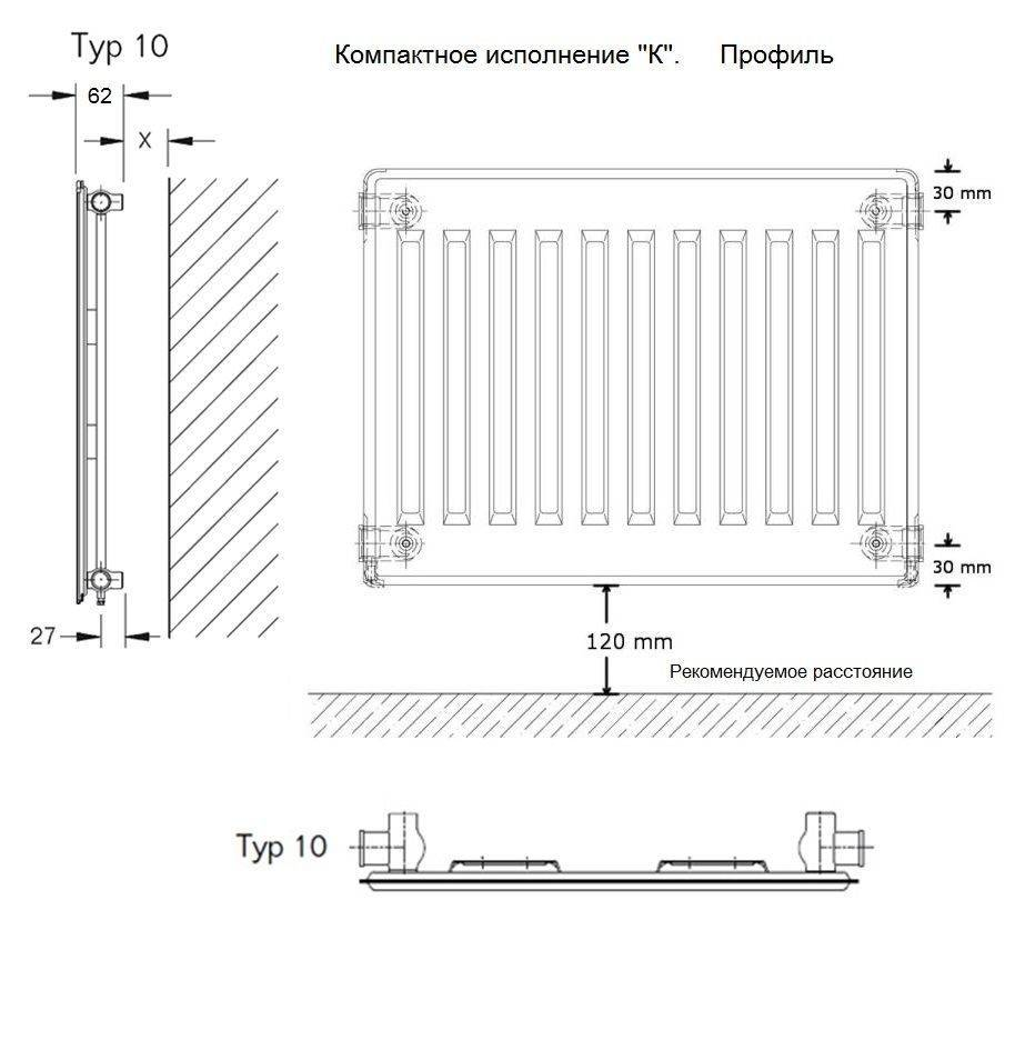 Размеры стальных радиаторов отопления