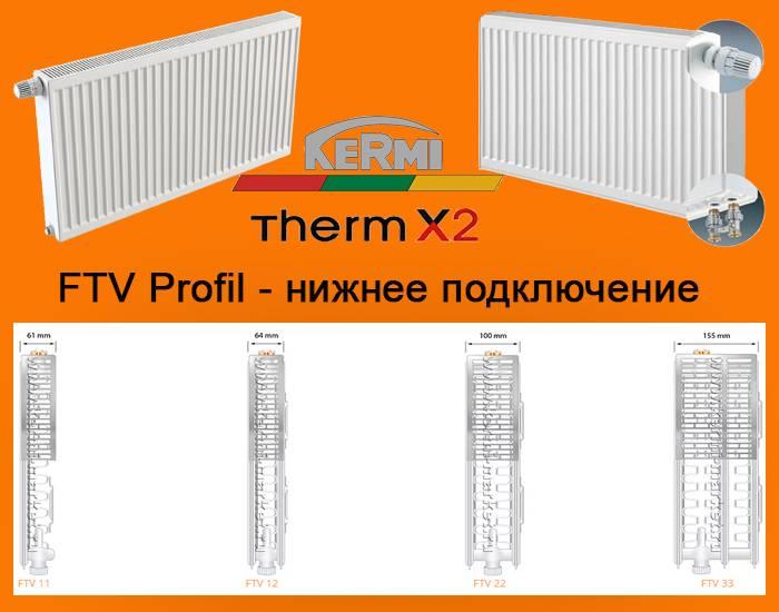 Стальной панельный радиатор kermi: модельный ряд, технические характеристики, особенности установки и ухода, а также схема нижнего подключения керми fko и информация о торговой марке