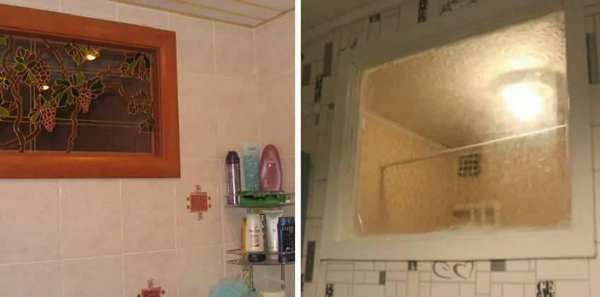 Зачем нужны окошки между туалетом и ванной: виды и оформление окон