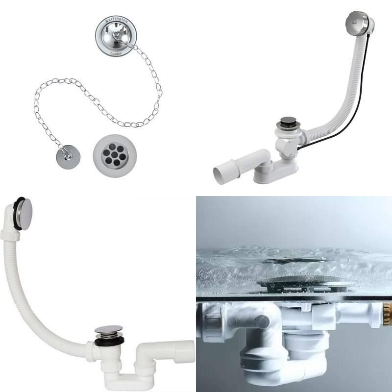 Как установить слив в ванной - монтаж сифона на ванну фото