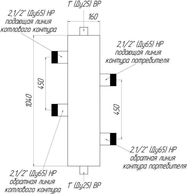 Калькулятор расчета гидрострелки исходя из мощности котла