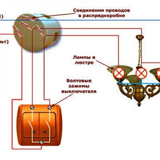 Схема подключения выключателя света с одной клавишей: монтаж и замена выключателя