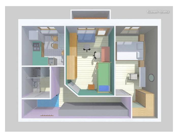 Перепланировка «хрущевки»: варианты  планировки 2-х смежных комнат