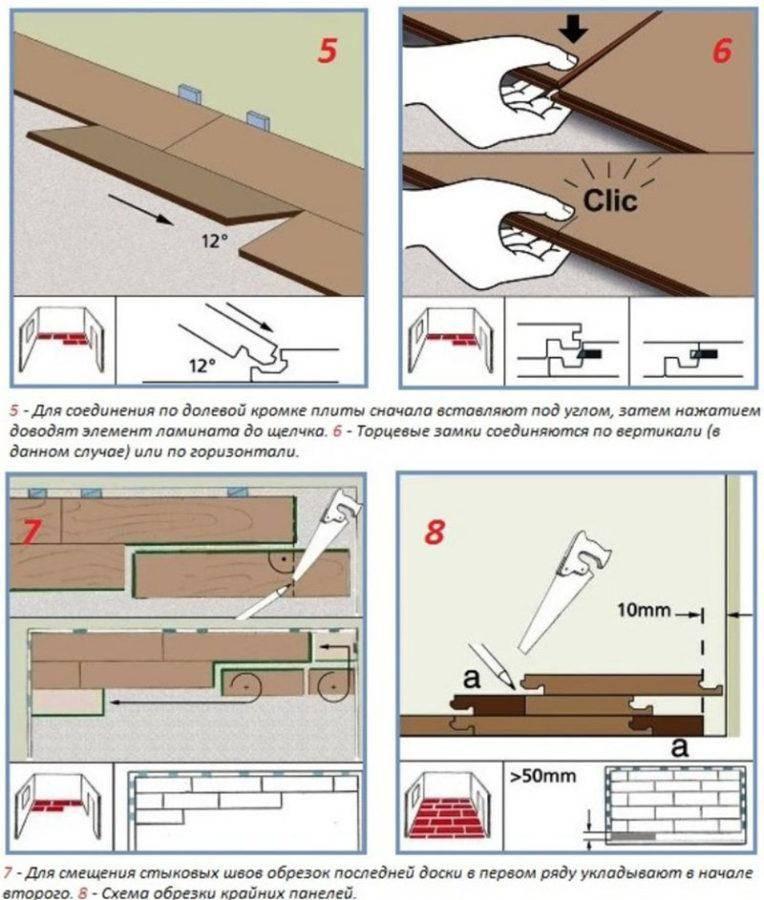 Укладка ламината своими руками: пошаговая инструкция, виды, способы, схемы и технология, выравнивание пола, кладем на бетон, деревянный пол, линолеум