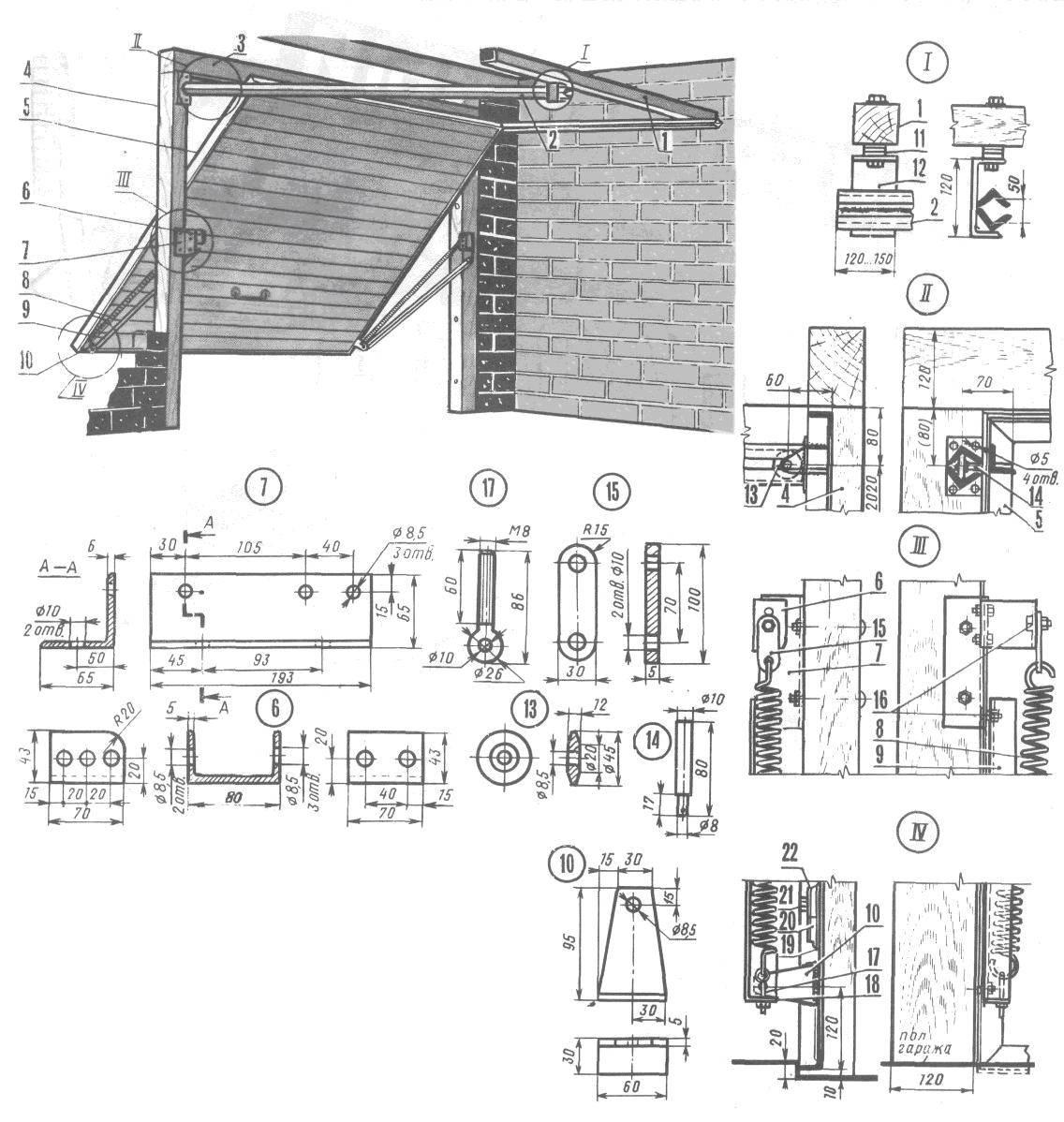 Гаражные ворота своими руками: особенности складной конструкции, чертежи, фото и видео этапов изготовления