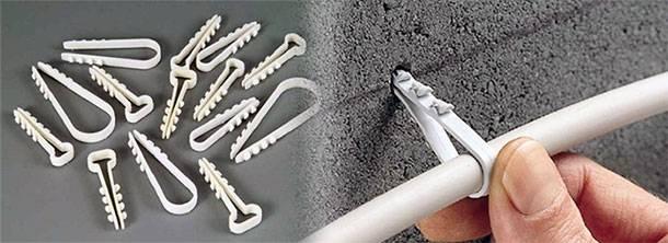 Как закрепить проводку на стене