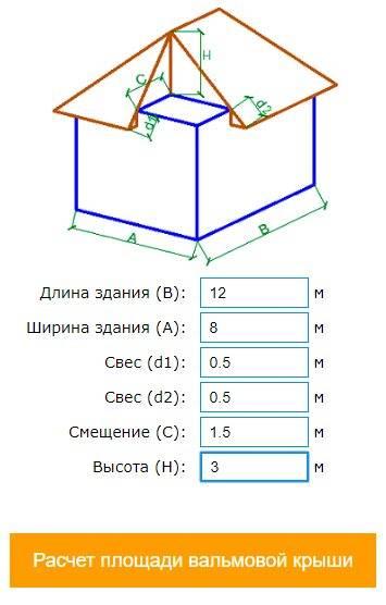 Онлайн калькулятор расчета крыши с чертежами - программа расчета кровли, в т.ч. двускатной и вальмовой   stroyka.expert