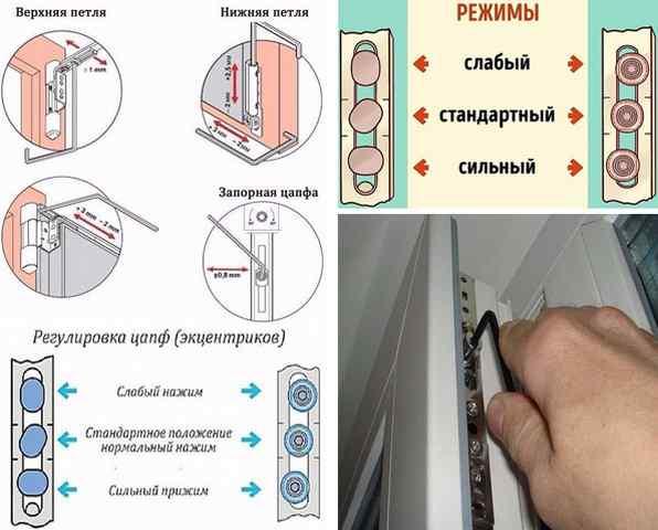 Регулировка пластиковых окон самостоятельно: зимний, летний режим, верхние, нижние петли, замена ручки