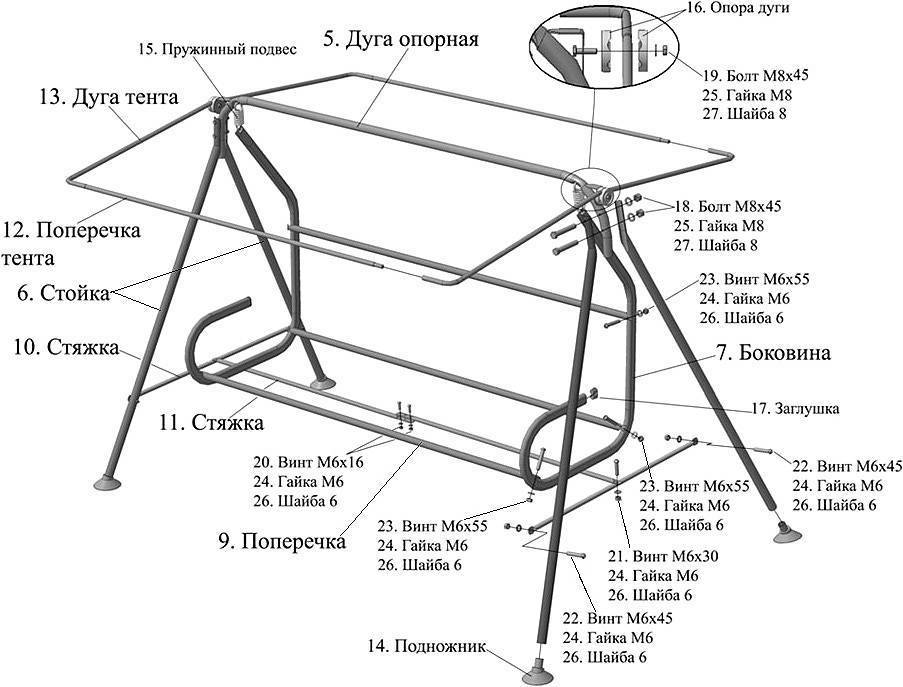 Изготовление качелей из профильной и полипропиленовой трубы